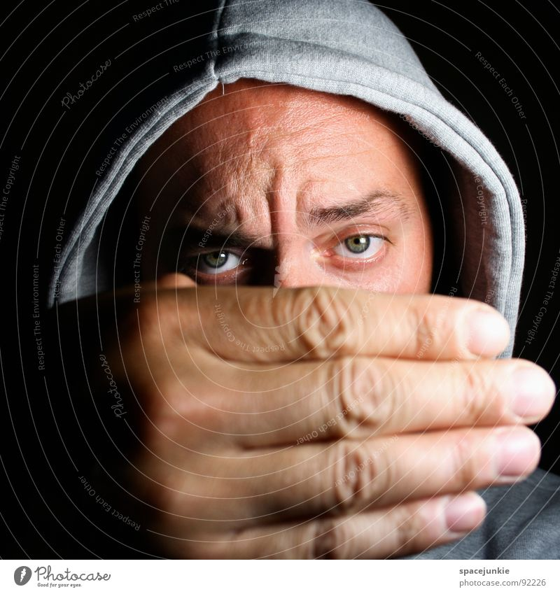 Man Hand Joy Eyes Funny Large Crazy Hide Sweater Whimsical Freak Hooded (clothing) Humor Earnest Hiding place Portrait photograph