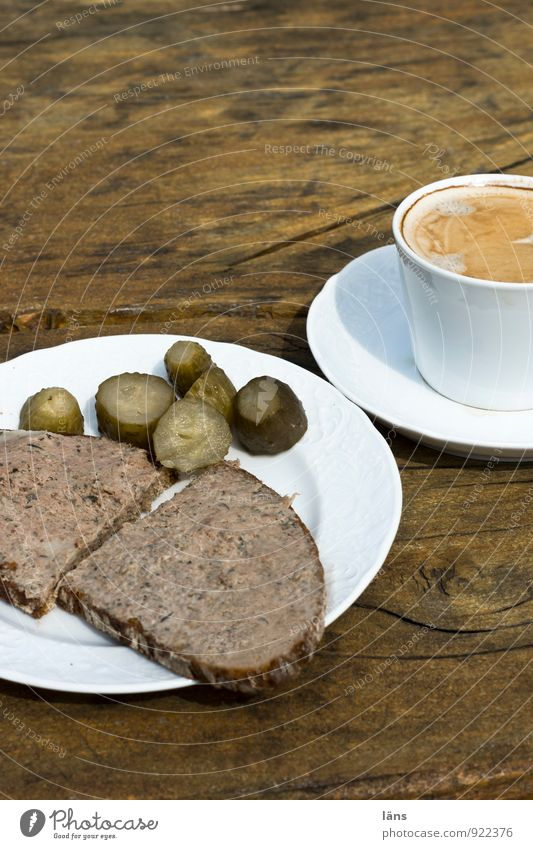 Farm shop dinner ... Food Sausage Bread Nutrition To have a coffee Gherkin Liver sausage liver sausage bread Coffee Plate Cup Vacation & Travel Tourism Trip