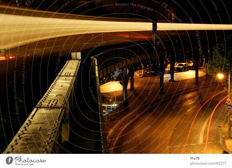 City Vacation & Travel Yellow Street Dark Berlin Movement Lighting Metal Railroad Bridge Action Energy industry Electricity Driving