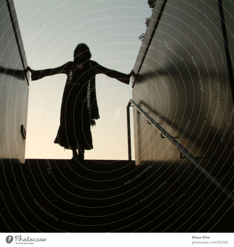 Woman Sky Dark Wall (building) Wall (barrier) Stairs Corner Trust Tunnel Handrail Hold Scarf
