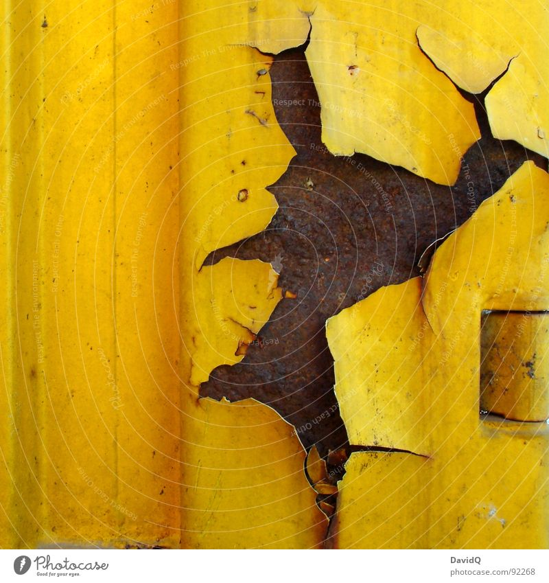 Old Colour Yellow Brown Transience Industry Broken Derelict Rust Steel Crack & Rip & Tear Iron Container Flake off Oxydation Short