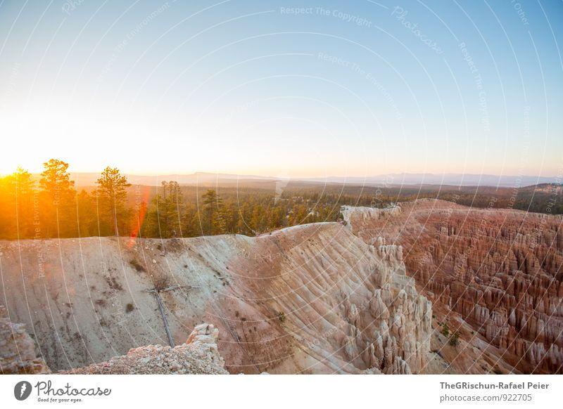 Bryce Canyon Environment Nature Landscape Earth Sand Sky Horizon Sun Sunrise Sunset Sunlight Blue Yellow Gold Gray Orange Black Silver White Beautiful Spectacle