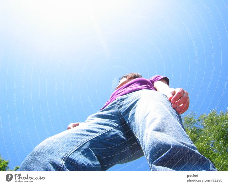 Rise up Strong Violet Green Unwavering Safety Jeans Sky Blue Legs Human being Tall Sun