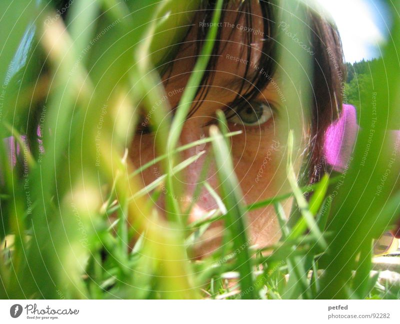 Human being Green Summer Face Eyes Emotions Grass Hair and hairstyles Violet Concentrate Permeate