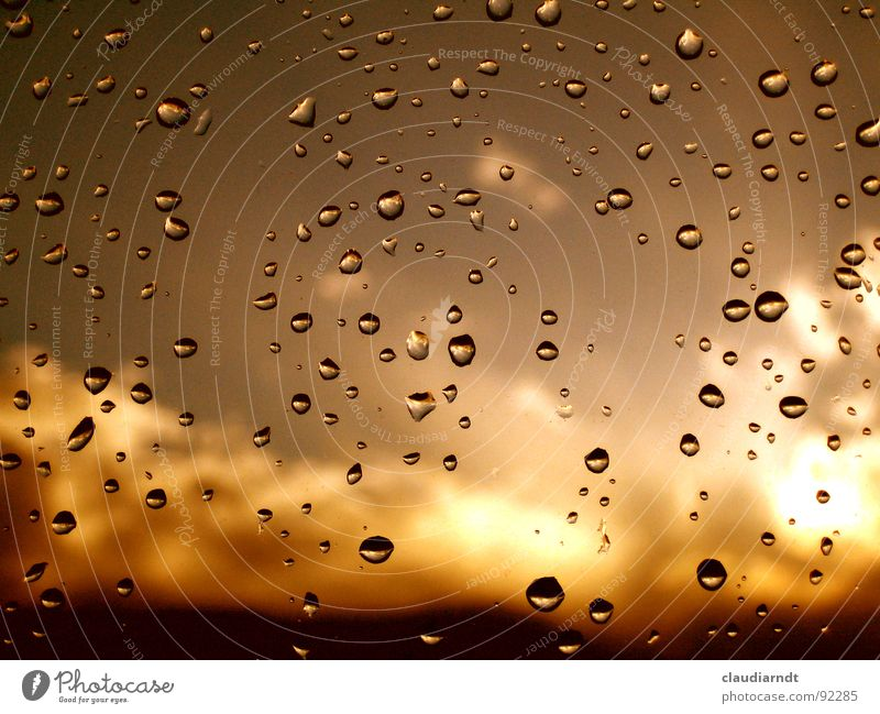 Sky Water Sun Clouds Yellow Window Sadness Bright Brown Rain Weather Gold Dirty Drops of water Cute Grief