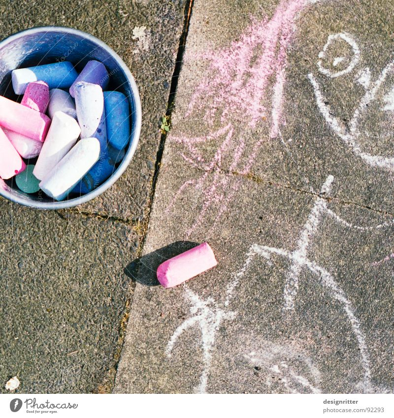 Blue Red Street Colour Lanes & trails Art Painting (action, work) Infancy Sidewalk Chalk Street painting