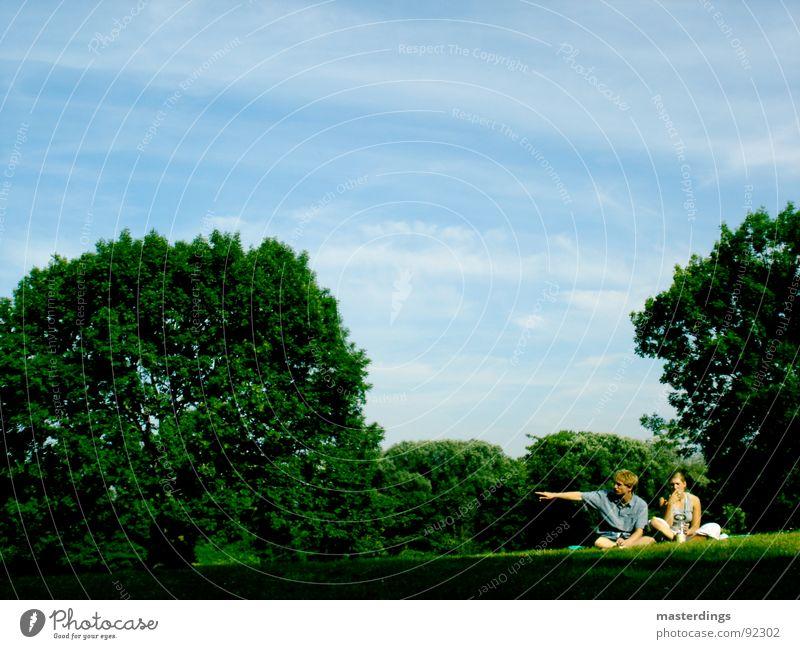 groundbreaking Green Carbon dioxide Smoking Man Woman Meadow Grass Beautiful Goettingen Tree Air Youth (Young adults) Nature Sky Blue Sit Shadow smoke zone