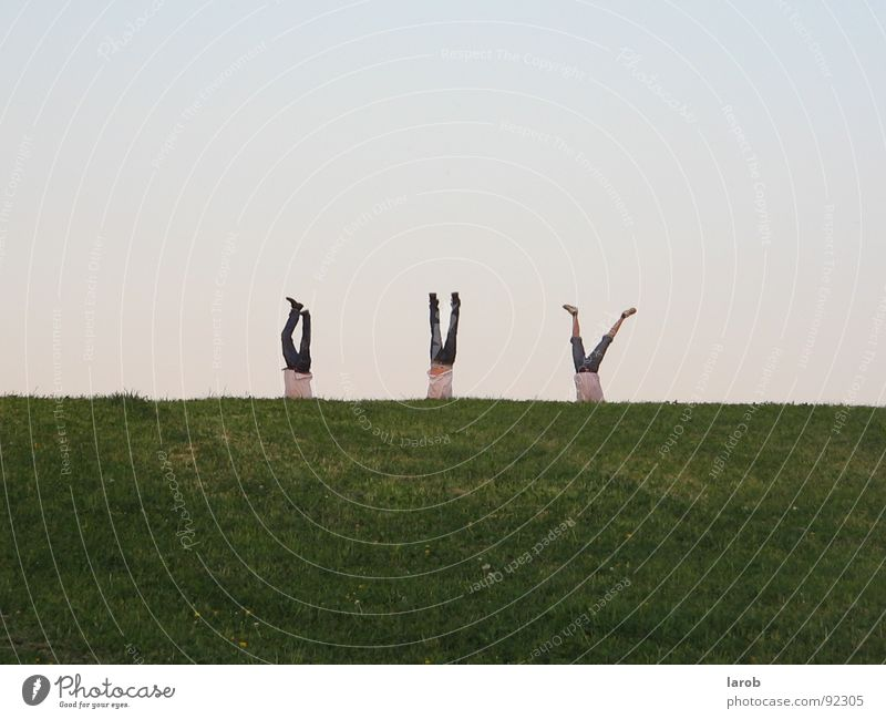 A completely normal day times completely differently Handstand Meadow Attachment Friendship Exterior shot Joy 3 men Freedom three crazy friends