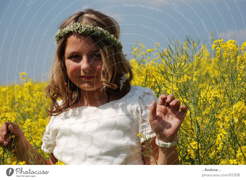 In YELLOW Child Girl Sky Field Happy Blue Yellow Canola Canola field Communion Elf white dress Fairy nikon d80 Colour photo