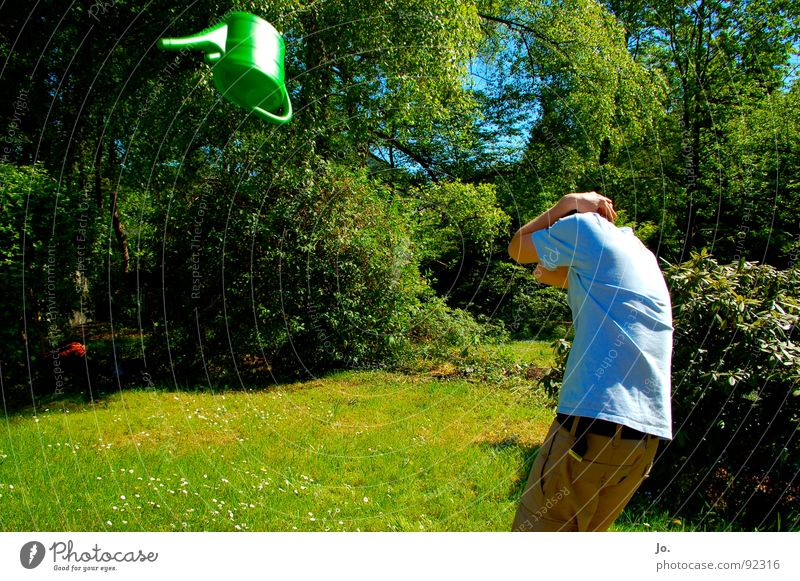 Take cover!!! Watering can Cover Green Bushes Tree Throw Summer Boredom Release Fear Panic Garden Arm Protection Flying Attention!