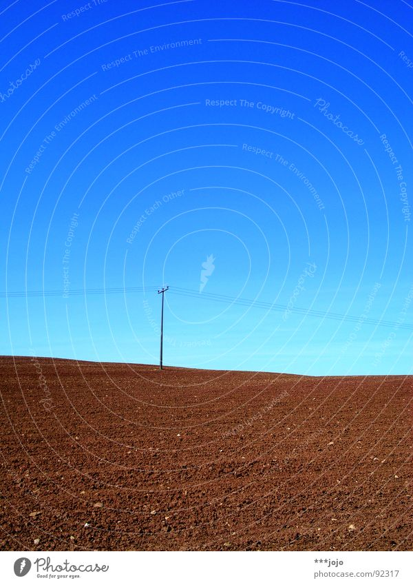 Sky Blue Spring Brown Field Cable Agriculture Americas Moon Electricity pylon Rural Sky blue Sparse Plowed