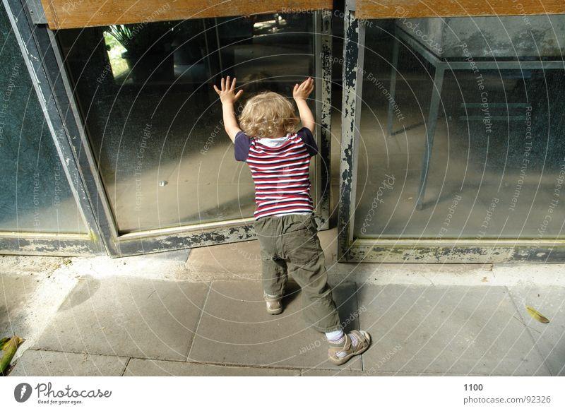 Child Boy (child) Door Glass Open Toddler Window pane Backwards Dwarf Undo Pushing Door opener Glass door