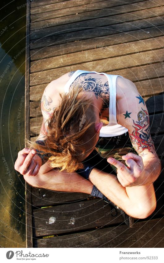 Man Youth (Young adults) Water Bridge Anger Argument Footbridge Guy Tattoo Punk Fingers Aggravation Aggression Left Outsider Middle finger