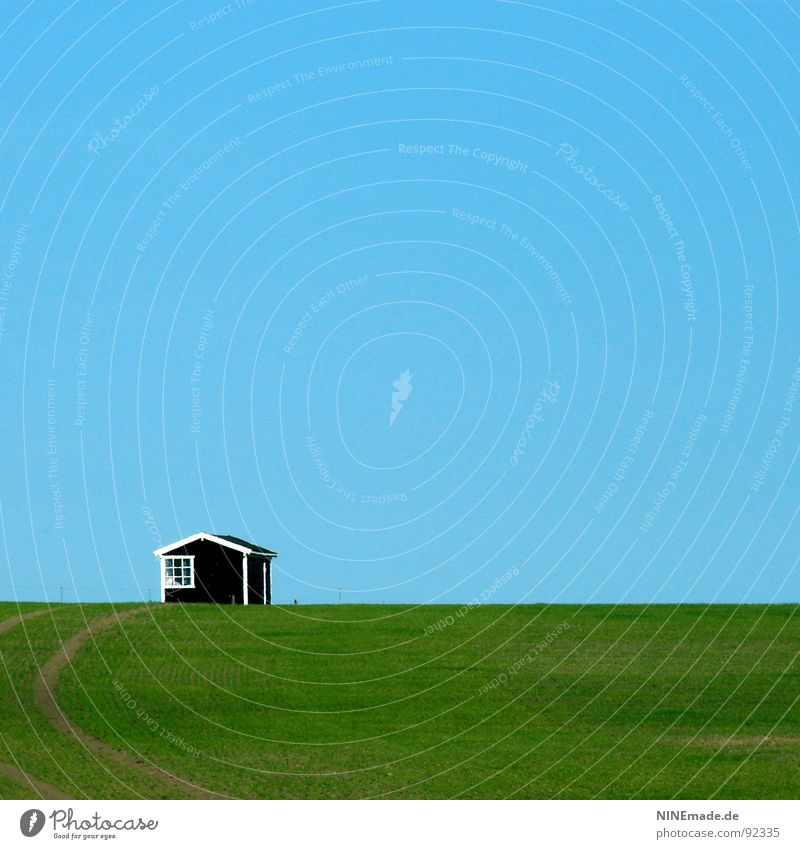 Sky Blue White Green Summer Loneliness House (Residential Structure) Black Window Meadow Spring Wood Lanes & trails Coast Small Line