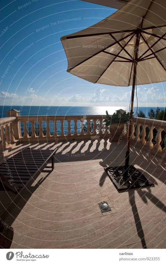 Licence to Chill Air Water Sky Sunlight Summer Warmth Coast Relaxation Dream Vantage point Far-off places Horizon Terrace Balcony Handrail Column Sunshade