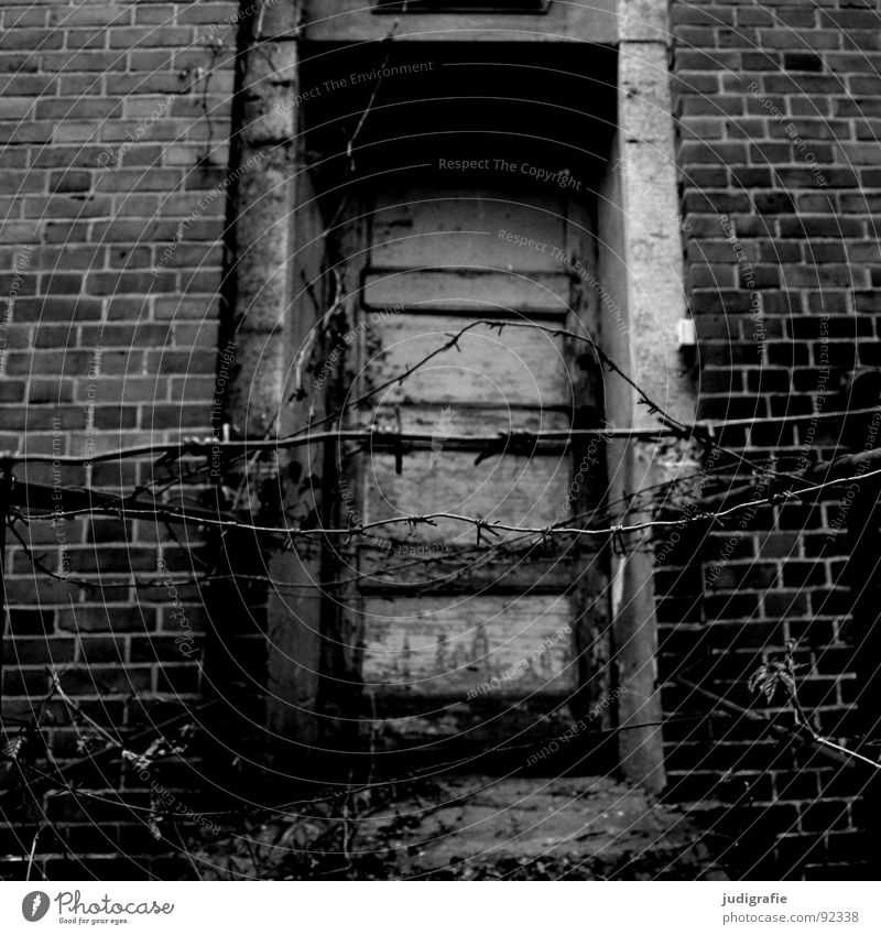 sanatorium House (Residential Structure) Ruin Building Door Brick Old Sadness Creepy Broken Loneliness Fear Bans Entrance Barbed wire Access Barred Laundry