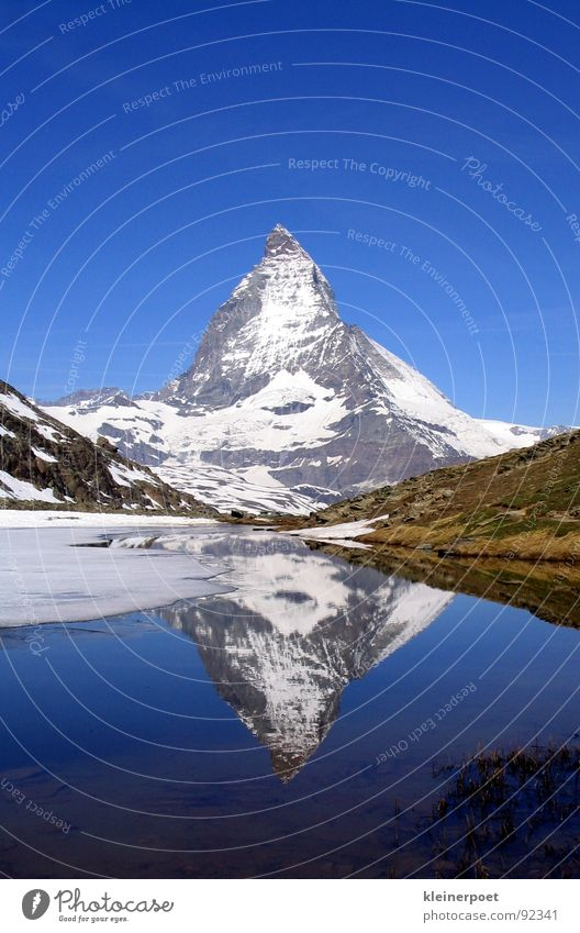 Nature Snow Mountain Lake Landscape Ice Mirror Americas Blue sky
