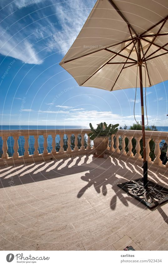 The further prospects ..... Air Water Sky Sunlight Summer Warmth Coast Relaxation Dream Vantage point Far-off places Horizon Terrace Balcony Handrail Column