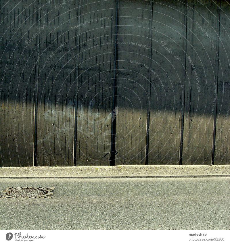 City Loneliness Street Cold Wall (building) Gray Wall (barrier) Line Graffiti Concrete Transport Gloomy Asphalt Stripe Boredom Gully