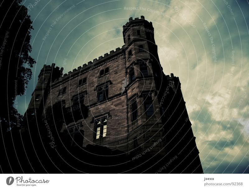 WalBURGis Night I Sky Clouds Storm Tree Leaf Castle Tower Window Old Threat Dark Sharp-edged Large Creepy Historic Brown Black Moody Fear Merlon Knight's castle