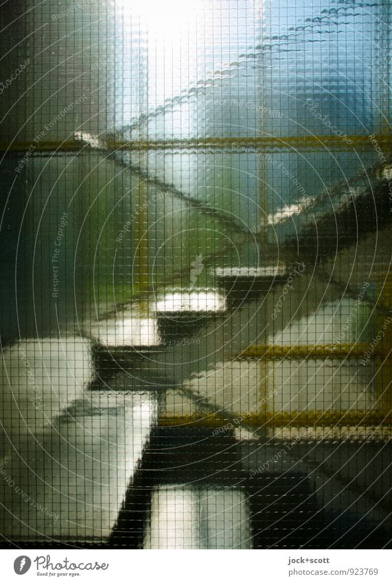 Transparent Architecture Warmth Stairs Staircase (Hallway) Window pane Sharp-edged Glittering Retro Symmetry Lanes & trails Time Landing Shaft of light