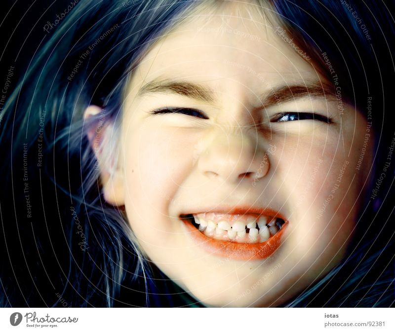Child Girl Joy Face Hair and hairstyles Mouth Small Grinning Evil Brash Loud Portrait photograph Teeth Milk teeth