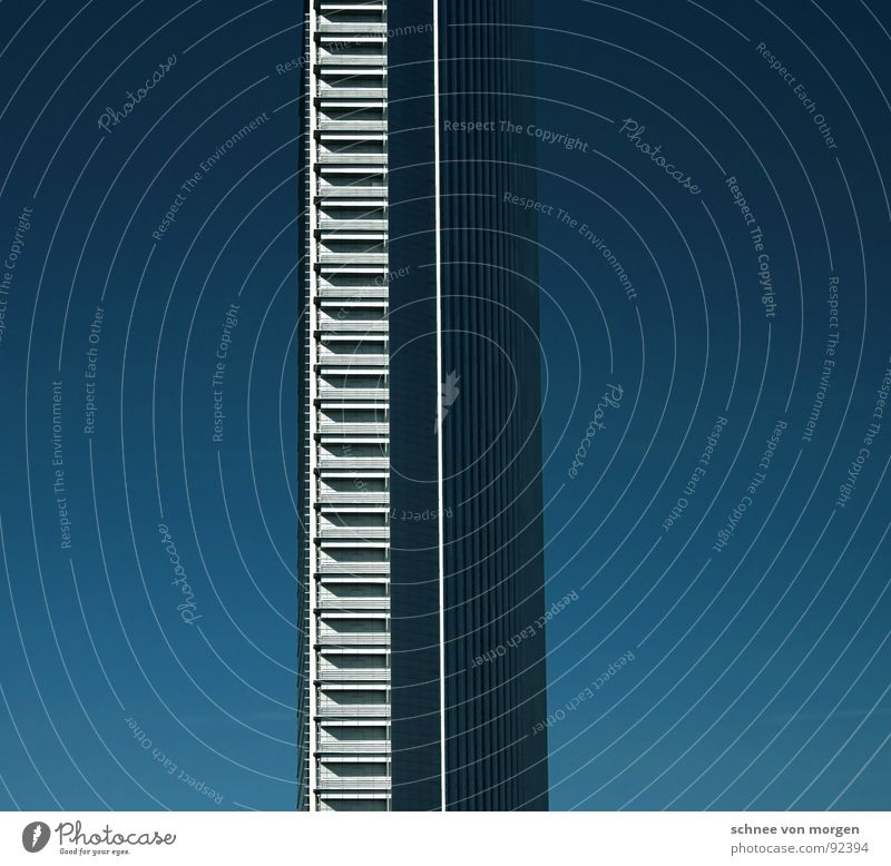 degree straight vertical High-rise Vertical Frankfurt Landmark Monument Sky Blue Tall