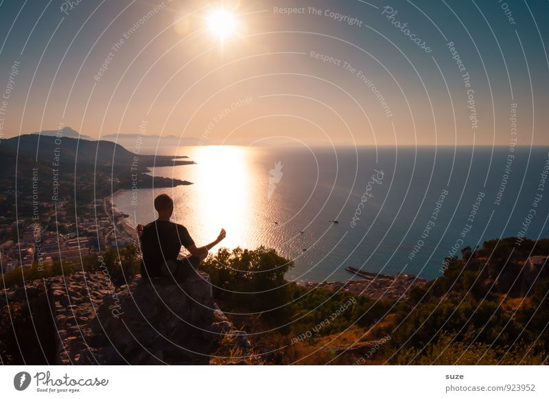 Human being Vacation & Travel Youth (Young adults) Man Relaxation Ocean Calm Young man Adults Lifestyle Masculine Contentment Idyll Tourism Sit Italy