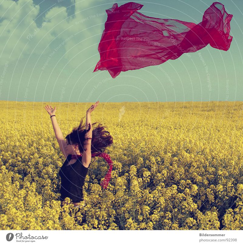 Woman Green Blue Red Clouds Yellow Colour Spring Landscape Field Agriculture Scarf Canola Vail Canola field