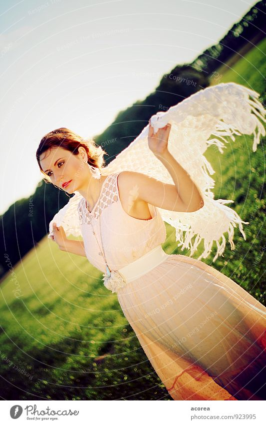 Human being Nature Youth (Young adults) Beautiful Green Young woman Calm 18 - 30 years Adults Feminine Moody Pink Field Wind Esthetic Beautiful weather