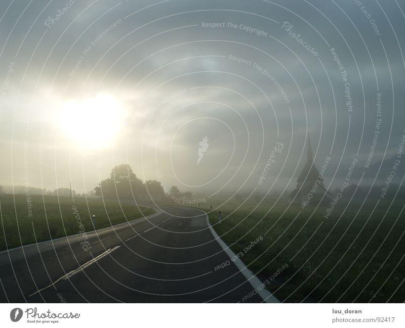 break of dawn Morning Clouds Highway Street Fog Tree Traffic infrastructure Dawn Sun Rope road trip Austria