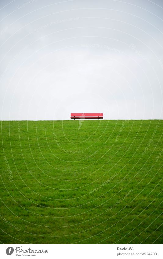 Seating ahead Life Harmonious Relaxation Calm Meditation Vacation & Travel Trip Far-off places Hiking Landscape Clouds Meadow Hill North Sea Baltic Sea Dike