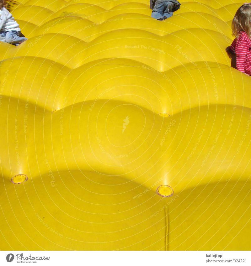 Child Joy Yellow Playing Jump Air Infancy Group of children Hop Romp Casino Childlike Air mattress Pop Art Playful