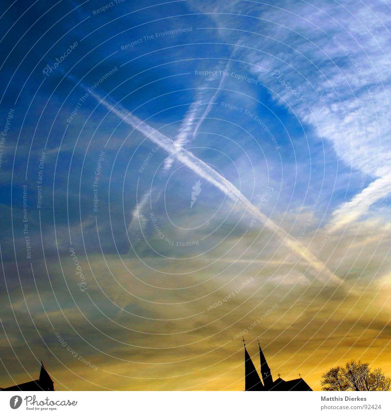 summertime Beautiful Far-off places Summer Aviation Art Painting and drawing (object) Sky Clouds Climate Building Blue Gold Black False End Religion and faith