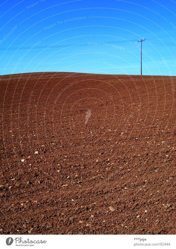 Sky Blue Spring Brown Field Cable Agriculture Americas Moon Electricity pylon Rural Mars Sky blue Sparse Plowed