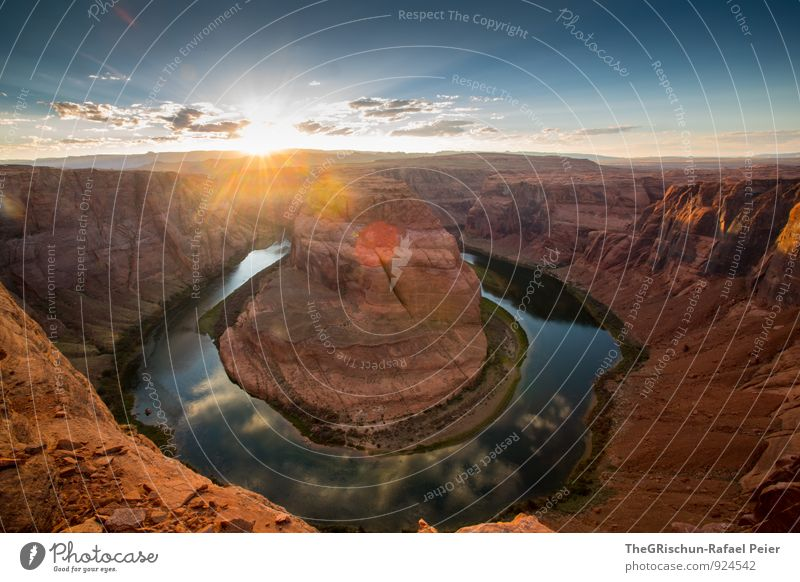 horseshoe bend Nature Landscape Earth Sand Water River bank Bay Blue Brown Yellow Gold Gray Orange Black Turquoise White Horseshoe Bend American Flag Page Moody