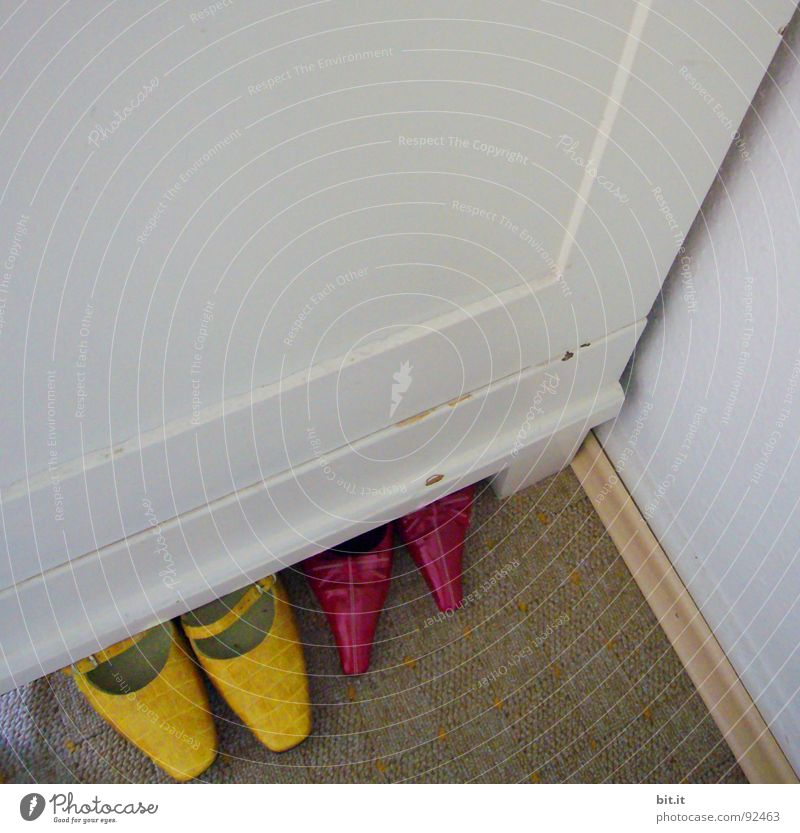 White Red Yellow Colour Wall (building) Above Footwear Dance Room Clothing Perspective Corner Floor covering Cleaning Point Painting (action, work)