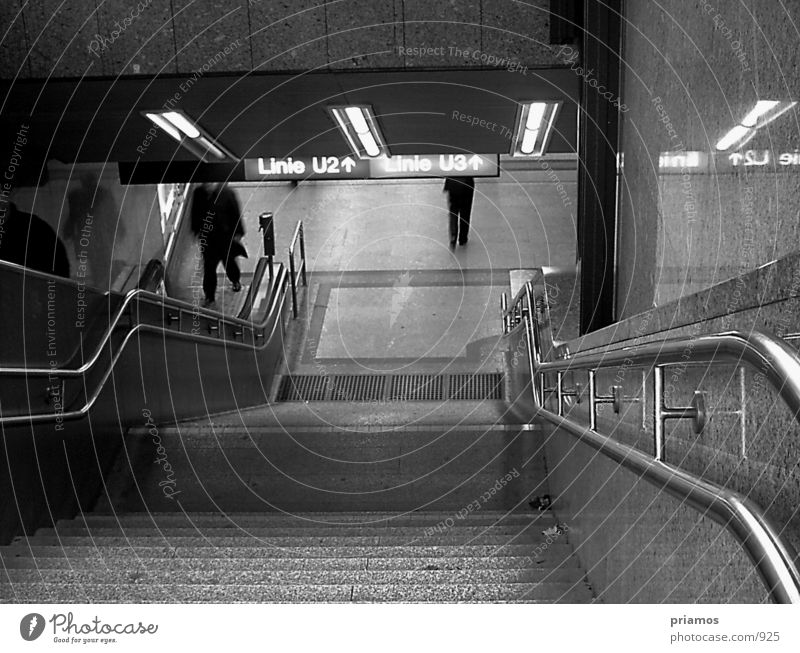 Subway exit Underground Escalator Transport Architecture departure Underpass Stairs Black & white photo