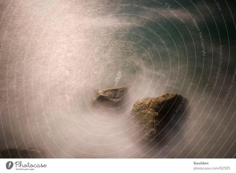 Picture 0 Coast Long exposure Waves Fog Clouds Ocean Lake White Dream Fairy tale Power Force Water Rock Deep Blue North Sea Landscape