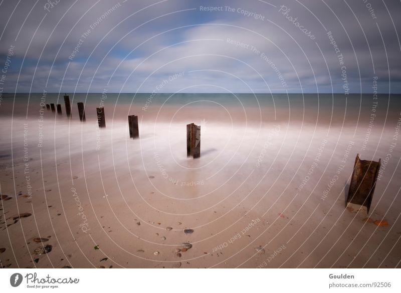 Water Ocean Beach Vacation & Travel Calm Relaxation Freedom Lake Waves Time Horizon Vantage point Steel Rust Footbridge North Sea