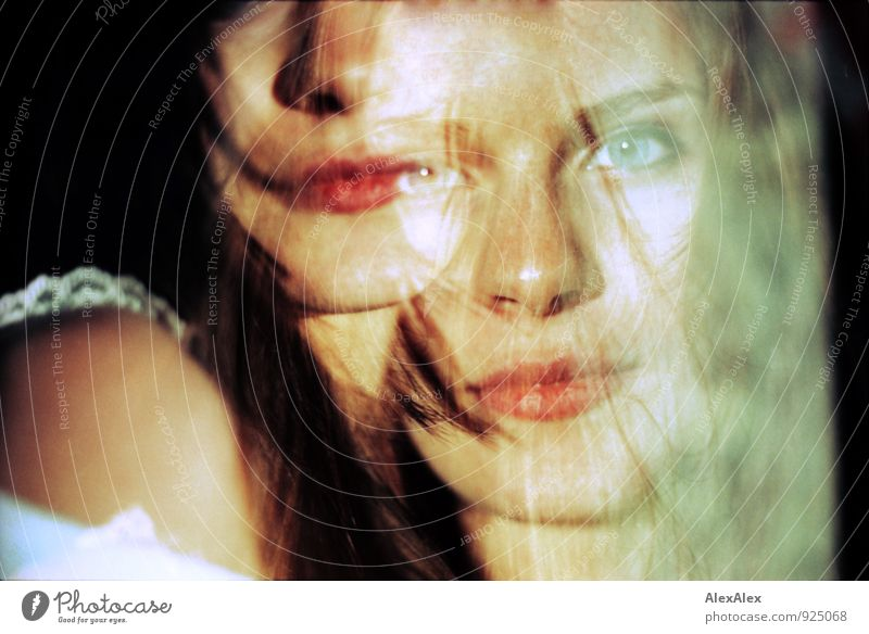 ego sequence Young woman Youth (Young adults) Eyes Mouth Lips Freckles 18 - 30 years Adults Double exposure Brunette Long-haired Looking Dream Esthetic