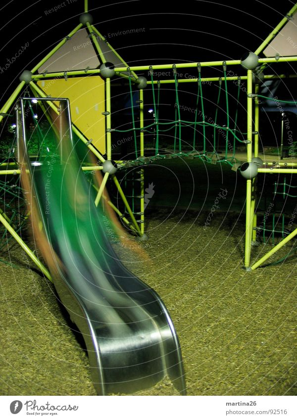 ghost slide Night Dark Playground Slide Blur Ghosts & Spectres  Long exposure Joy Action Playing Human being climbing scaffold fun blurred shoot glide