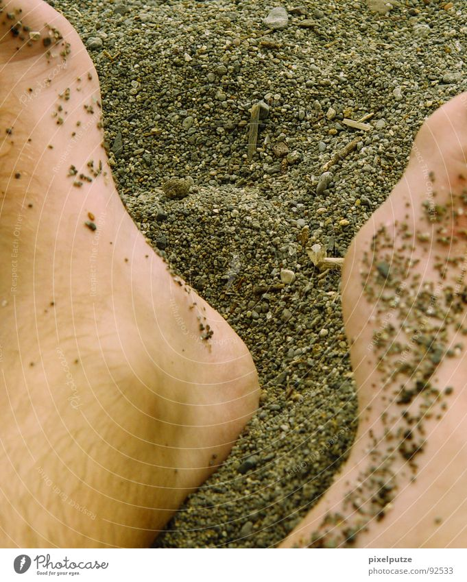 Man Summer Beach Relaxation Warmth Coast Sand Feet Skin Soft Beautiful weather Italy Physics Sunbathing Cozy Gravel