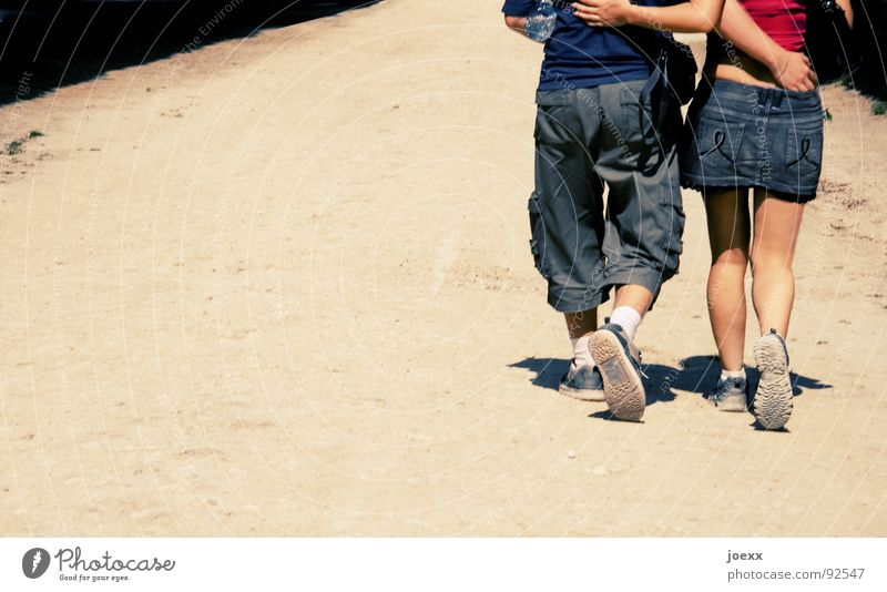 Woman Man Youth (Young adults) Blue Hand White Red Summer Joy Love Warmth Lanes & trails Sand Happy Legs Couple