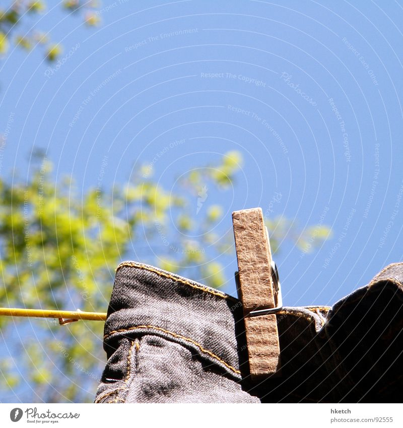 Jeans On Laundry Clothesline Clothes peg Structures and shapes Dry Backyard Spring Summer Laundered Household Clothing Farm