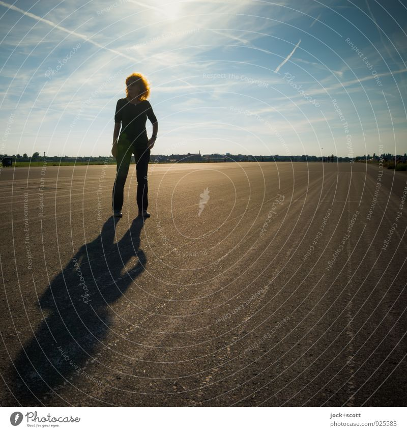 This Is Leisure Happy Woman Adults 1 Human being 45 - 60 years Sky Clouds Beautiful weather Airport Berlin-Tempelhof Runway Red-haired Long-haired Curl Concrete