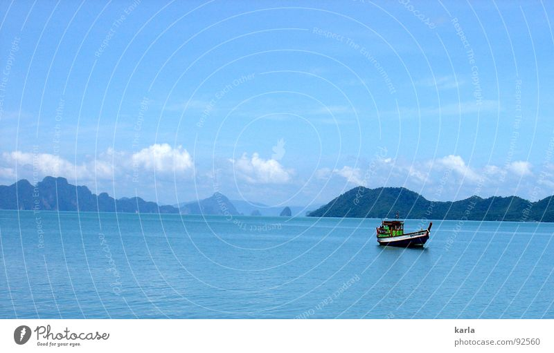 Day at the sea Watercraft Ocean Clouds Calm Fishery Fisherman Thailand Sky Asia Mountain Blue