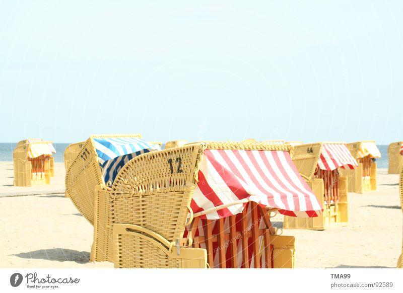 Sand under your feet! Beach Beach chair Striped Vacation & Travel Ocean To enjoy Beautiful weather Clear sky Coast Blue Sky Sun Baltic Sea North Sea fun
