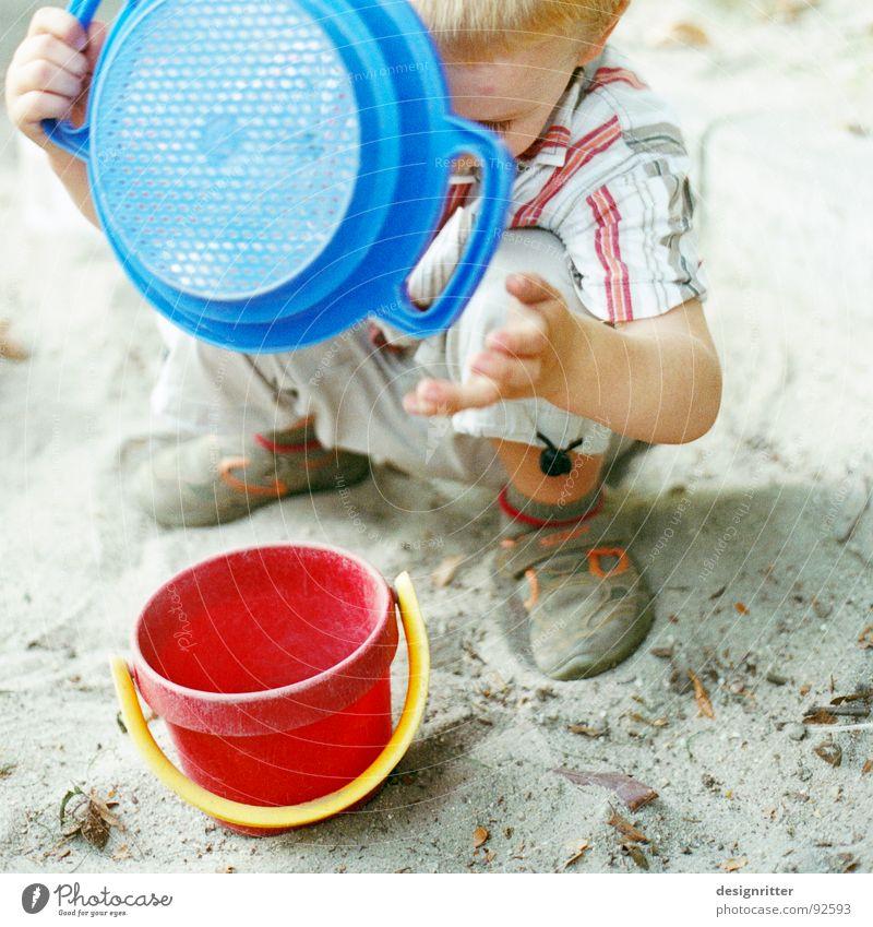 Sand Paradise 1 Child Sandpit Sand toys Toys Playing Bucket Sieve Red Builder Boy (child) Blue boy sandbox Loudspeaker playground plaything Filter