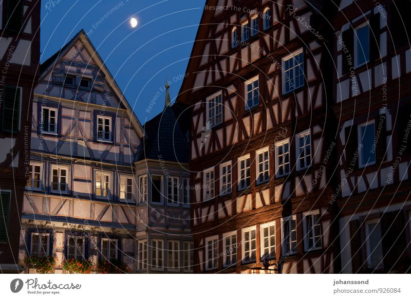 Old Town Mosbach Night sky Moon Baden-Wuerttemberg Small Town Downtown Old town House (Residential Structure) Manmade structures Building Architecture